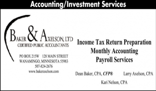 Accounting / Investment Services, Baker and Axelson, Wanamingo, MN