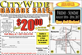 City Wide Garage Sale, The Kenyon Leader, Faribault, MN