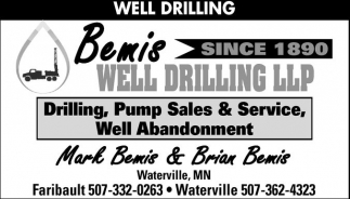 Drilling, Pump Sales & Services, Well Abandonment, Bemis Well Drilling and Water Conditioning, Waterville, MN