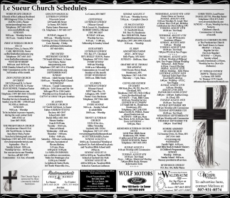 Le Sueur Church Schedules