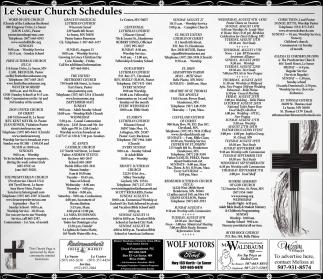 Le Sueur Church Schedules