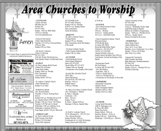 Area Churches to Workship, Le Center Leader, Faribault, MN