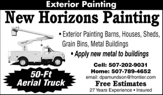Free Estimates, 27 years experience, New Horizons Painting