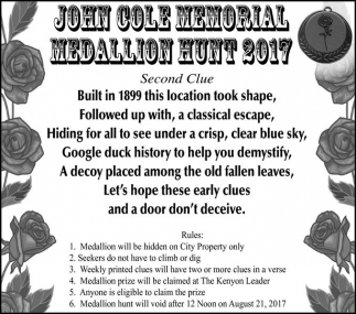 John Cole Memorial Medallion Hunt 2017