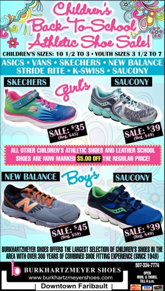Children's Back to School Athletic Shoe Sale, Burkhartzmeyer Shoes,  Faribault, MN