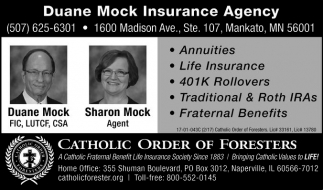 Duane Mock Insurance Agency, Catholic Order Of Foresters, Mankato, MN