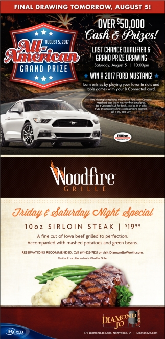 Woodfire Grille, Friday & Saturday Night Specil