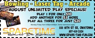 August Unlimited Play Specials!