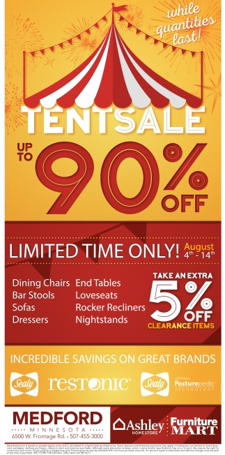 Tent Sale Up to 90% off, Furniture Mart
