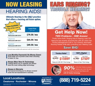 Now Leasing Hearing Aids!, Ultimate Hearing , Clive, IA