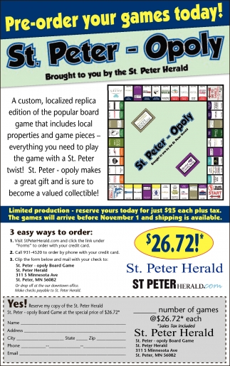 St. Peter - Opoly, St. Peter Herald, Faribault, MN