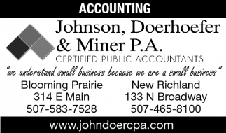 For all your Bookkeeping, Tax or Payroll needs!, Johnson, Doerhoefer and Miner, Owatonna, MN