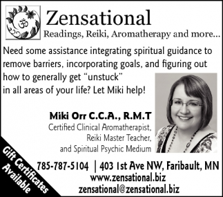 Readings, Reiki, Aromatherapy and more, Zensational, Faribault, MN
