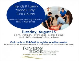 Hands Only CPR Course, River's Edge Hospital and Clinic, St Peter, MN