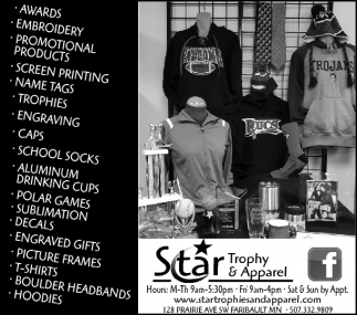 Apparel, Awards & More!, Star Trophy and Apparel, Faribault, MN