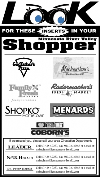 Look for these inserts in your Minnesota River Valley Shopper, Minnesota River Valley Shopper, Faribault, MN