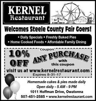 Welcomes Steele County Fair Goers!