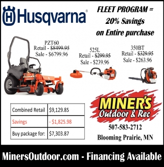 Husqvarna, Miner's Outdoor and Rec, Blooming Prairie, MN