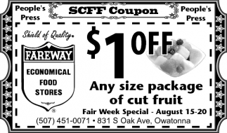 $1 off Any size package of cut fruit