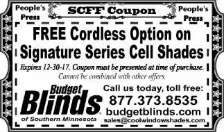 Free Cordless Option on Signature Series Cell Shades