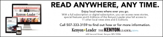 Read Anywhere, any time, The Kenyon Leader, Faribault, MN