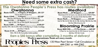 Owatonna People's Press has routes available, Owatonna People's Press, Faribault, MN