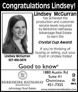 Congratulations Lindsey