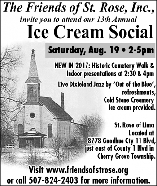 Ice Cream Social, Friends of St. Rose, Kenyon, MN