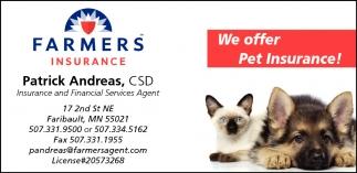 We offer Pet Insurance!