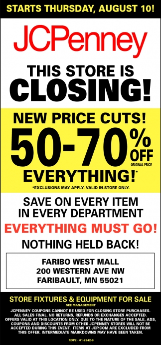 50 - 70% off everything!, JCPenney