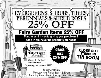 Evergreens, Shrub, Trees, Perennials & Shrub Roses 25% off