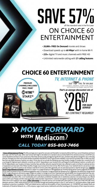 Save 57% on Choice 60 Entertainment, Mediacom Cable, Minneapolis, MN