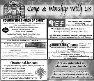 Church Service Directory, Owatonna People's Press, Faribault, MN