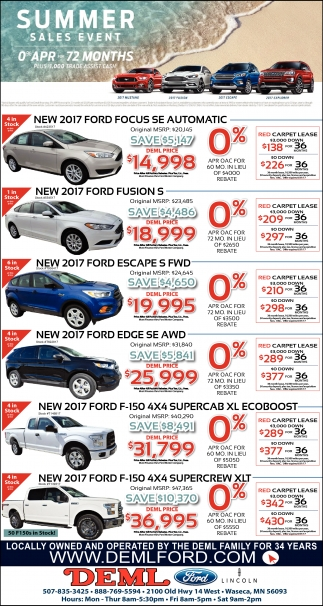 Summer Sales Event, DEML FORD, Waseca, MN