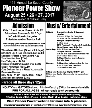 44th Annual Le Sueur County Pioneer Power Show, Pioneer Power Association, Le Sueur, MN