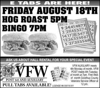 Friday August 18th Hot Roast & Bingo