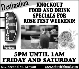 Food and Drink Specials for Rose Fest Weekend!