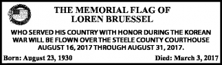 Memorial Flag of Loren Brussel
