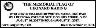 Memorial Flag of Leonard Kading
