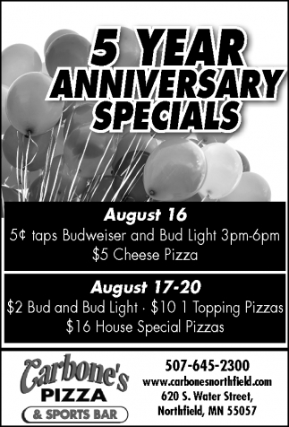 5 Year Anniversary Specials