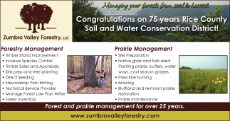 Congratulations  on 75 years Rice County Soil and Water Conservation District, Zumbro Valley Forestry