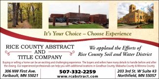 It's Your Choice, Choose Experience, Rice County Abstract and Title Company, Northfield, MN