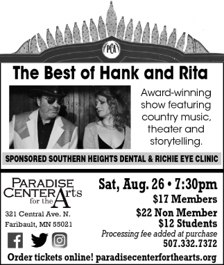 The Best of Hank and Rita, Paradise Center for the Arts, Faribault, MN