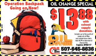 Operation Backpack, Car Time Auto Center, Dundas, MN