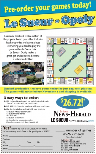 Pre-order your games today!, Le Sueur News Herald, Faribault, MN