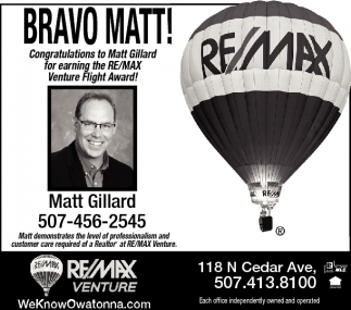 Matt Gillar RE/MAX Venture Fight Award
