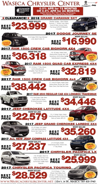 Summer Clearance Event, Waseca Chrysler Center, Waseca, MN