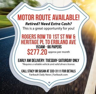 Motor Route Available