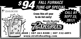 72 Degrees Air Conditioning and Heating, Streitz Heating and Cooling, Dundas, MN