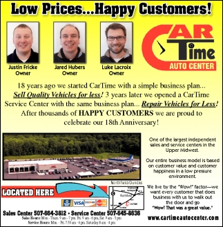 Low Prices... Happy Customers!, Car Time Auto Center, Dundas, MN